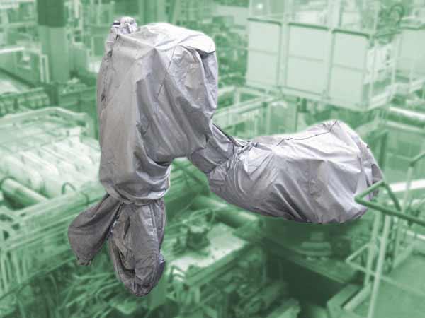 Roboterschutzanzug aus Para Aramidgewebe, hitzebeständig, 4 teilig mit zusätzlichem Schlauchschutz, verstärkte Klettverschlüsse