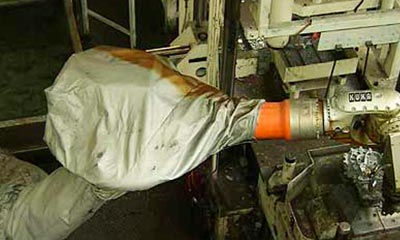 <strong>Roboterschutzanzug aus hitzbeständigem Aramidgewebe</strong>, 3 teilig, mit Klettverschlüssen