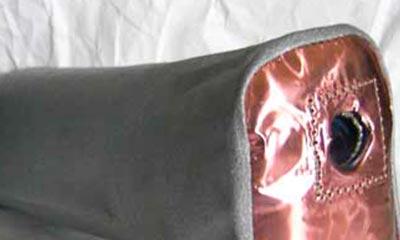 Beispiel für Schweißspritzschutz( MIG/ MAG) aus Aramidgewebe und zusätzlicher Metallfolie